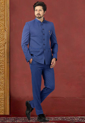 Woven Terry Rayon Jodhpuri Suit in Royal Blue