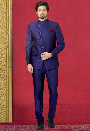Woven Terry Rayon Jodhpuri Suit in Royal Blue