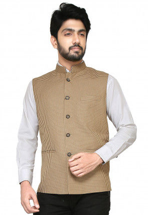 Woven Terry Rayon Nehru Jacket in Beige