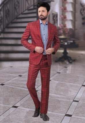 Woven Terry Rayon Suit in Red