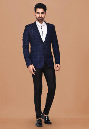 Woven Terry Rayon Suit Set in Dark Blue