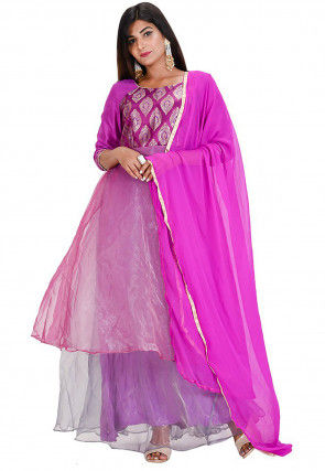 Woven Tissue Abaya Style Suit in Pink and Purple