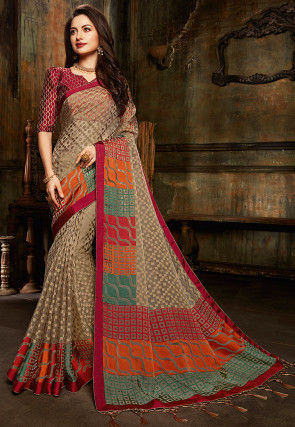 Woven Tissue Brasso Saree in Beige and Multicolor