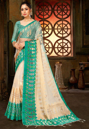 Woven Tissue Brasso Saree in Cream and Teal Green