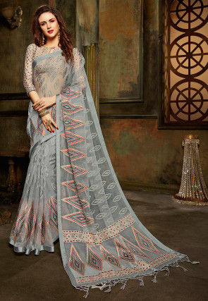 Woven Tissue Brasso Saree in Grey