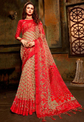 Woven Tissue Brasso Saree in Light Beige and Red