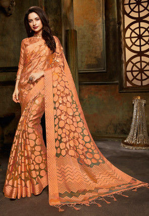 Woven Tissue Brasso Saree in Light Orange