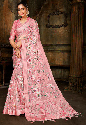 Woven Tissue Brasso Saree in Light Pink
