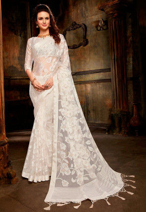 Woven Tissue Brasso Saree in Off white