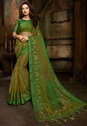 Woven Tissue Brasso Saree in Olive Green