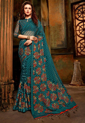 Woven Tissue Brasso Saree in Teal Blue