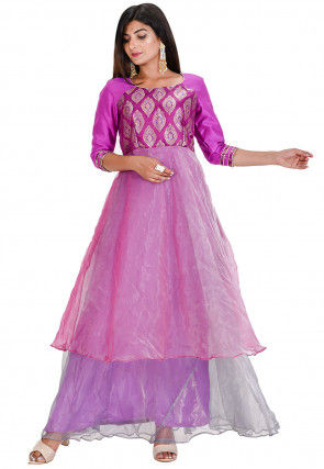 Woven Tissue Gown in Pink and Purple