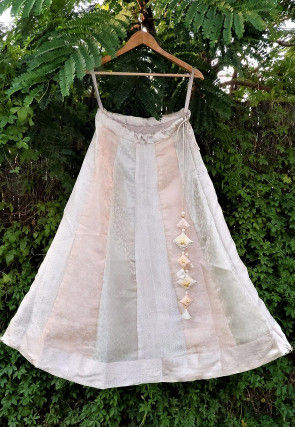 Woven Tissue Jacquard Panelled Skirt in Off White and Peach