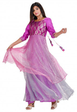 Woven Tissue Kurta Set in Pink and Purple