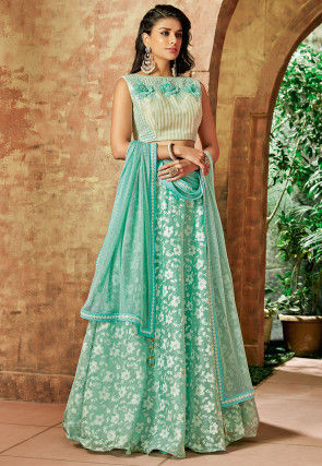 Woven Tissue Lehenga in Sea Green