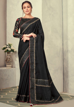 Woven Tissue Saree in Black
