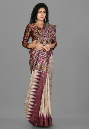 Woven Tussar and Ghicha Silk Saree in Dusty Magenta