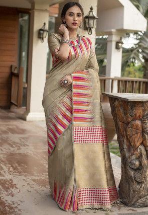 Woven Tussar Silk Saree in Beige