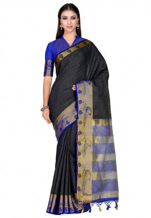 Woven Tussar Silk Saree in Black