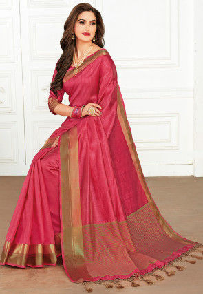 Woven Tussar Silk Saree in Coral Pink