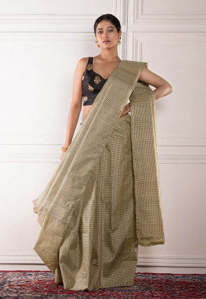 Woven Tussar Silk Saree in Cream