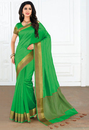 Woven Tussar Silk Saree in Green