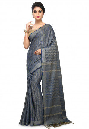 Woven Tussar Silk Saree in Grey and Blue