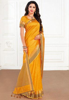 Woven Tussar Silk Saree in Mustard