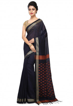 Woven Tussar Silk Saree in Navy Blue