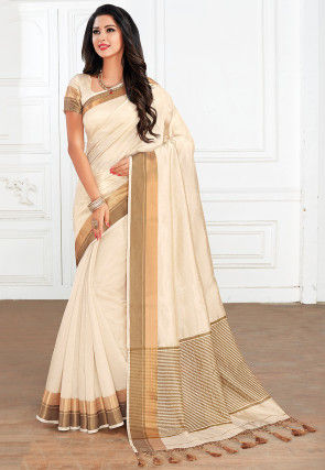 Woven Tussar Silk Saree in Off White