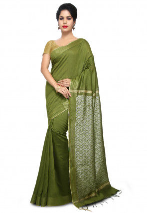 Woven Tussar Silk Saree in Olive Green
