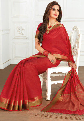 Woven Tussar Silk Saree in Red