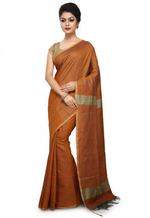 Woven Tussar Silk Saree in Rust