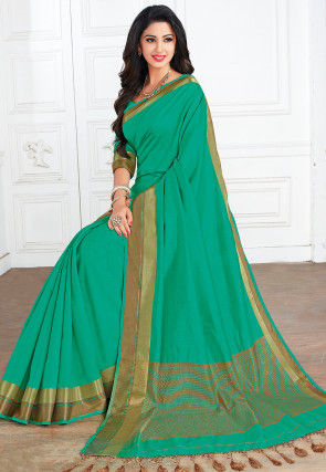 Woven Tussar Silk Saree in Teal Green