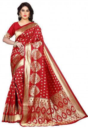 Woven Uppada Silk Saree in Red