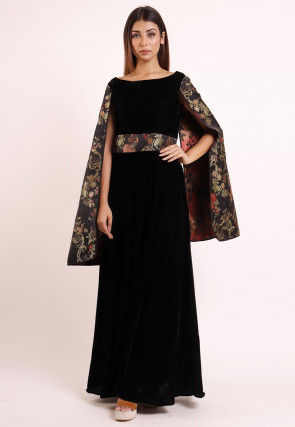 Woven Velvet Gown in Black