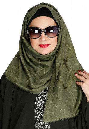 Woven Viscose Cotton Hijab in Olive Green