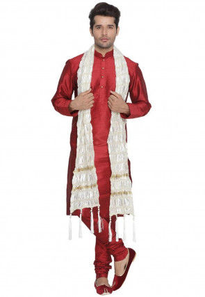 Woven Viscose Dupatta in Off White