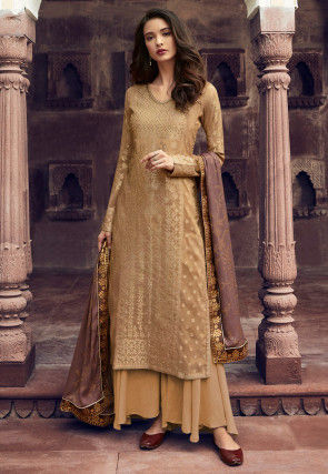 Woven Viscose Jacquard Pakistani Suit in Beige