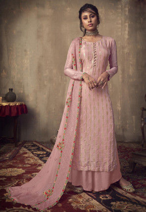 Woven Viscose Jacquard Pakistani Suit in Light Pink