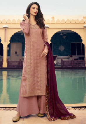 Woven Viscose Jacquard Pakistani Suit in Peach