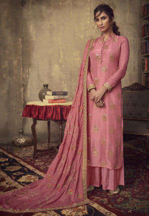 Woven Viscose Jacquard Pakistani Suit in Pink
