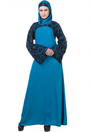 Woven Viscose Rayon Abaya with Jacket in Teal Blue and Black