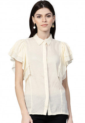 Woven Viscose Rayon Jacquard Top in Cream