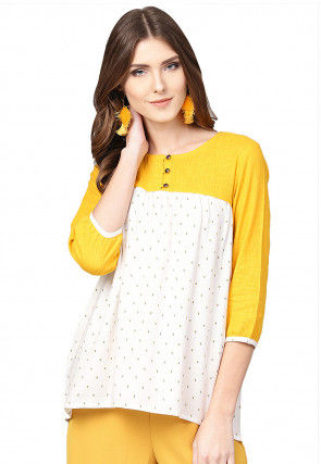 Woven Viscose Rayon Top in Off White and Yellow