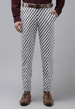 Woven Viscose Trouser in White and Black