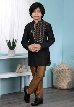 Woven Yoke Cotton Silk Kurta Set in Black