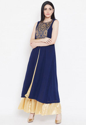 Woven Yoke Georgette Front Slit Kurta in Navy Blue