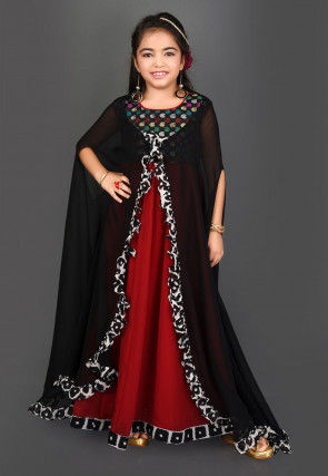 Woven Yoke Georgette Gown with Shrug in Red