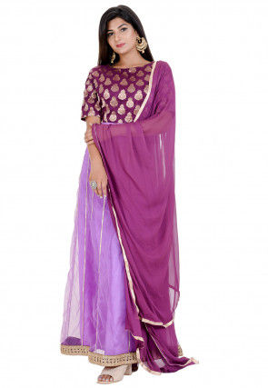 Woven Yoke Net Abaya Style Suit in Purple
